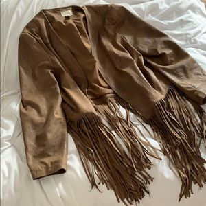 Chicos faux suede fringe bottom jacket brown